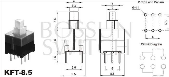 square push switch 8.5x8.5mm