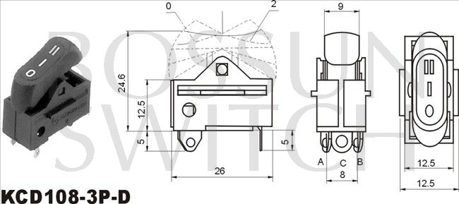Rocker switch KCD108-3P-D